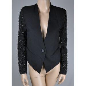 Blazer Jacket Coat Suit Black Beads